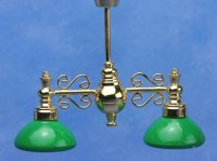 Billiard Chandelier with green shade