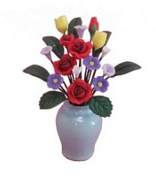 red roses/assort. flowers in vase