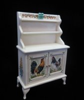 Rooster Themed Ivory Hutch