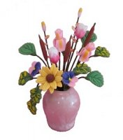 Assorted flowers/pink vase