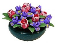 tulips and iris in bowl