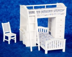 bunkbed w/desk.chair/ White