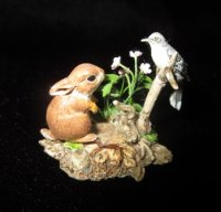 Wildlife Sculpture bunny and bird