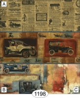 Vintage car/red/blue newsprint