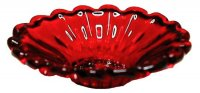 crystal red glass flared platter