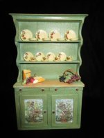 Green Hand Painted Hutch