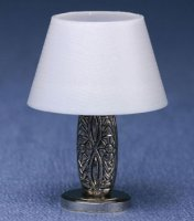 Silver floral base/white shade lamp