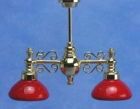 Billiard Chandelier w/red shade