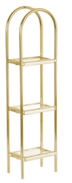 Brass/glass etagere, 3 shelf