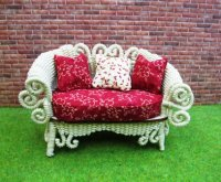 Ivory Wicker Settee w/red