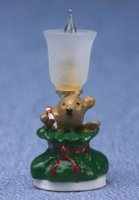 Table lamp, bear in sack/green