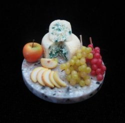 Round cheese and fruit tray