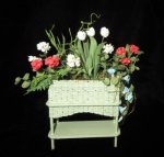 Green Wicker Planter w/flowers