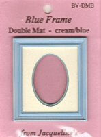 Blue rectangular frame/oval dbl. mat