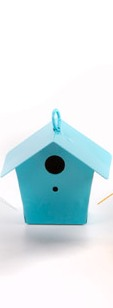 Metal Bird House Blue