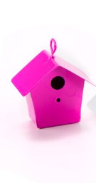 Metal Bird House Pink