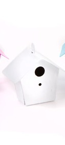 Metal bird house white
