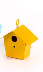 Metal Bird House Yellow