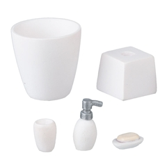 5 pc. White Bathroom Accessories