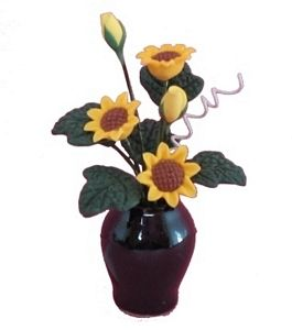 Sunflowers in Black Vase