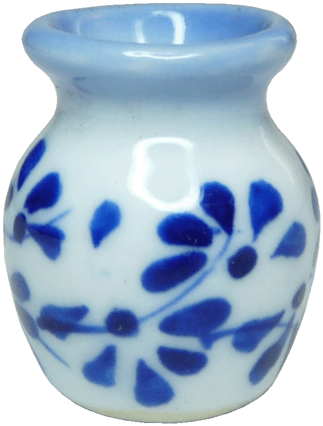 W w/blue trim Ceramic Vase