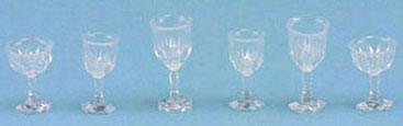 """Cut glass"" stemware/6pc."