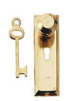 Knob and key plate brass, 2 pk.