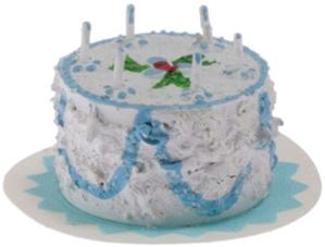 Blue Birthday Cake w/candles