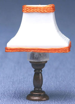 bronze table lamp with flared shade, orange trim
