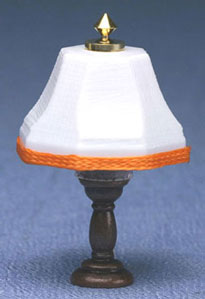 bronze table lamp, orange trim