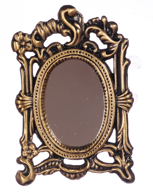 Floral Antiqued oval mirror