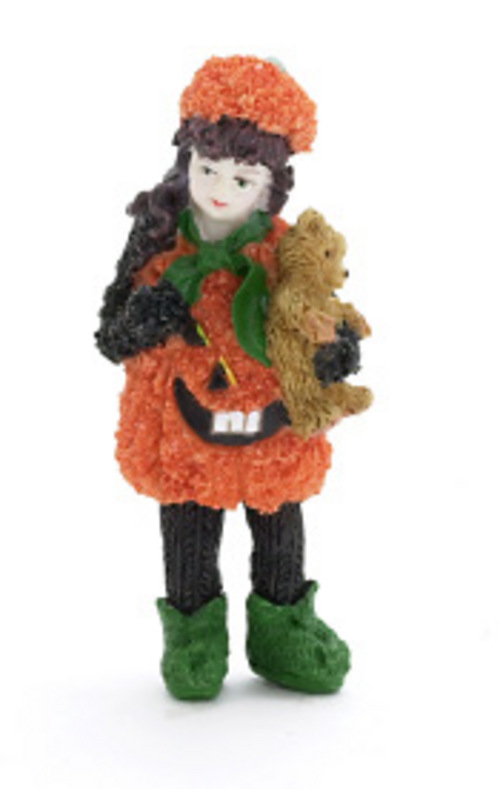 Pumpkin costumed girl
