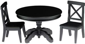 Black Pedestal Table/2 chairs