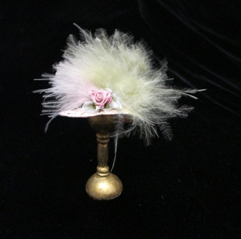 Pale Pink hat w/gr./pink feathers