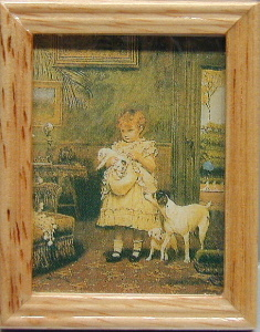 Girl/dog/oak frame