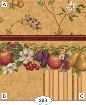 Orchard Fruits/gold floral - Click Image to Close