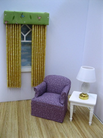 Yellow pleated drapes/green valance